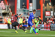 Leicester City Midfielder, Marc Albrighton (11) scores a goal to make it 4-2 during the Premier League match between Bournemouth and Leicester City at the Vitality Stadium, Bournemouth, England on 15 September 2018.