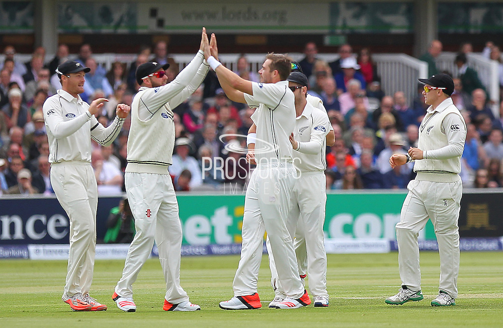 New Zealand Tim Southee takes the wicket of England debutant Adam Lyth during the first day of the Investec 1st Test  match between England and New Zealand at Lord's Cricket Ground, St John's Wood, United Kingdom on 21 May 2015. Photo by Ellie  Hoad.