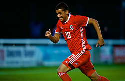 BANGOR, WALES - Monday, October 15, 2018: Wales' Brennan Johnson celebrates scoring the second goal from a free kick during the UEFA Under-19 International Friendly match between Wales and Poland at the VSM Bangor Stadium. (Pic by Paul Greenwood/Propaganda)