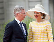 Brussels, 18-05-2016 <br /> State Visit of King Abdullah and Queen Rania of Jordan to Belgium.<br /> <br /> Arrival at Palace Square and meeting with King Filip and Queen Mathilde of Belgium<br /> <br /> Photo: Royalportraits Europe/Bernard Ruebsamen