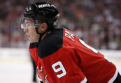 Oct 3, 2009; Newark, NJ, USA; New Jersey Devils left wing Zach Parise (9) waits for the faceoff during the second period at the Prudential Center.