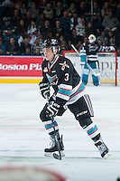 KELOWNA, CANADA - OCTOBER 9: Riley Stadel #3 of Kelowna Rockets skates against the Victoria Royals on OCTOBER 9, 2015 at Prospera Place in Kelowna, British Columbia, Canada.  (Photo by Marissa Baecker/Getty Images)  *** Local Caption *** Riley Stadel;