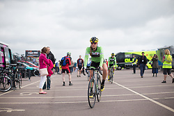 Alison Tetrick of Cylance Pro Cycling rides to the start of the Aviva Women's Tour 2016 - Stage 1. A 138.5 km road race from Southwold to Norwich, UK on June 15th 2016.