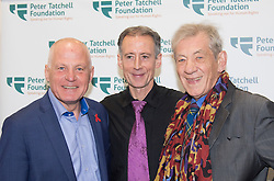 Old Town Hall, Stratford, London - 28 November 2015. Singers Marc Almond, Ronan Parke, Heather Peace and Asifa Lahore headline the Peter Tatchell Foundation's inaugural Equality Ball, a fundraiser for the foundation's LGBTI and human rights work, with guest of honour Sir Ian McKellen  joined by Paul O'Grady, Rupert Everett and Michael Cashman. PICTURED: Stonewall founder Michael Cashman CBE, Peter Tatchell and Sir Ian McKellen.  //// FOR LICENCING CONTACT: paul@pauldaveycreative.co.uk TEL:+44 (0) 7966 016 296 or +44 (0) 20 8969 6875. ©2015 Paul R Davey. All rights reserved.
