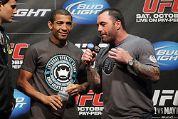 October 7, 2011; Houston, TX.; USA;  UFC Bantamweight Champion Jose Aldo at the weigh-ins for his fight against Kenny Florian at UFC 136 in Houston.