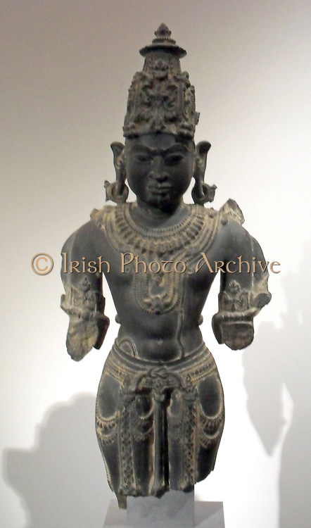 Hindu god Vishnu, 11th century to12th century. schist sculpture from Gwalior, India