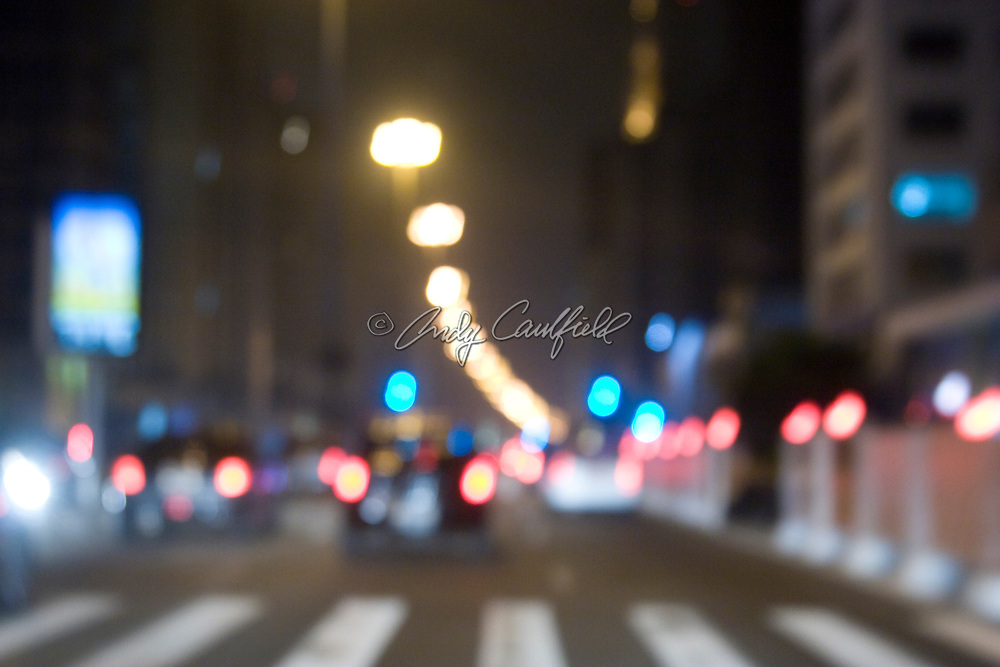 Shallow focus of Paulista Avenue traffic at night, Sao Paulo, Brazil.