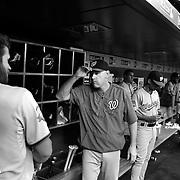 Bryce Harper, (left), Washington Nationals, in the dugout with Matt Williams, Washington Nationals Manager, before the New York Mets Vs Washington Nationals MLB regular season baseball game at Citi Field, Queens, New York. USA. 31st July 2015. Photo Tim Clayton