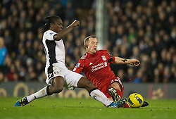 05.12.2011, Craven Cottage Stadion, London, ENG, PL, FC Fulham vs FC Liverpool, 14. Spieltag, im Bild Liverpool's Charlie Adam in action against Fulham during the football match of English premier league, 14th round, between FC Fulham and FC Liverpool at Craven Cottage Stadium, London, United Kingdom on 05/12/2011. EXPA Pictures © 2011, PhotoCredit: EXPA/ Sportida/ David Rawcliff..***** ATTENTION - OUT OF ENG, GBR, UK *****