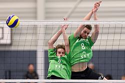 21-11-2015 NED: Advisie/SSS - ARBO Rotterdam, Barneveld<br /> SSS wint met 3-1 (25-13, 24-26, 25-13, 25-18) van Rotterdam / Johan Oosting #6 of SSS, Jorg de Waard #8 of SSS