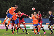 Michael Cheek of Braintree Town has a header at goal that goes just wide during the FA Cup match between Braintree Town and Oxford United at the Avanti Stadium, Braintree<br /> Picture by Richard Blaxall/Focus Images Ltd +44 7853 364624<br /> 08/11/2015