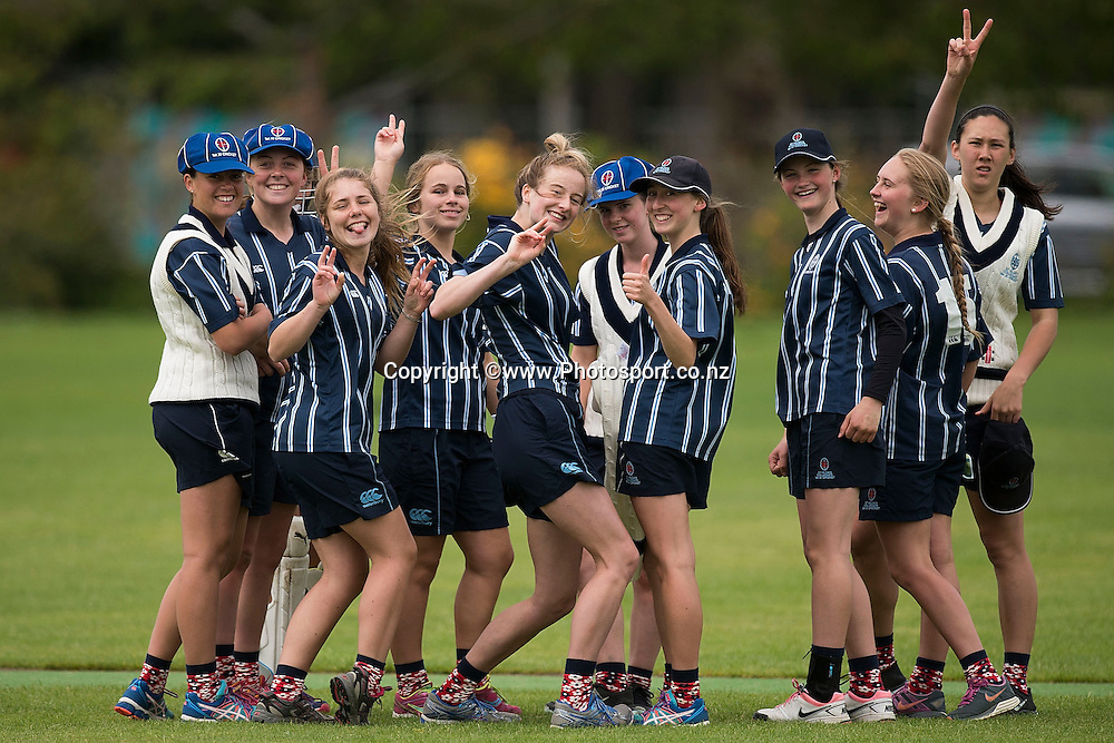 St Hilda's Collegiate players celebrate a run out of a Whangarei GHS player during the St Hilda's Collegiate vs Whangarei GHS match in the NZCT College Girls Cup cricket tournament at Fitzherbert Park in Palmerston North on Thursday the 11th of December 2014. Photo by Marty Melville/www.Photosport.co.nz