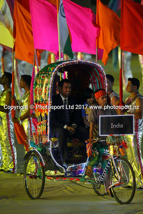 Captain Shahid Afridi of Pakistan waves enters the arena on a rickshaw during the opening ceremony of the 2011 ICC Cricket World Cup at the Bangabandhu National Stadium on February 17, 2011 in Dhaka, Bangladesh. Photo: www.photosport.co.nz