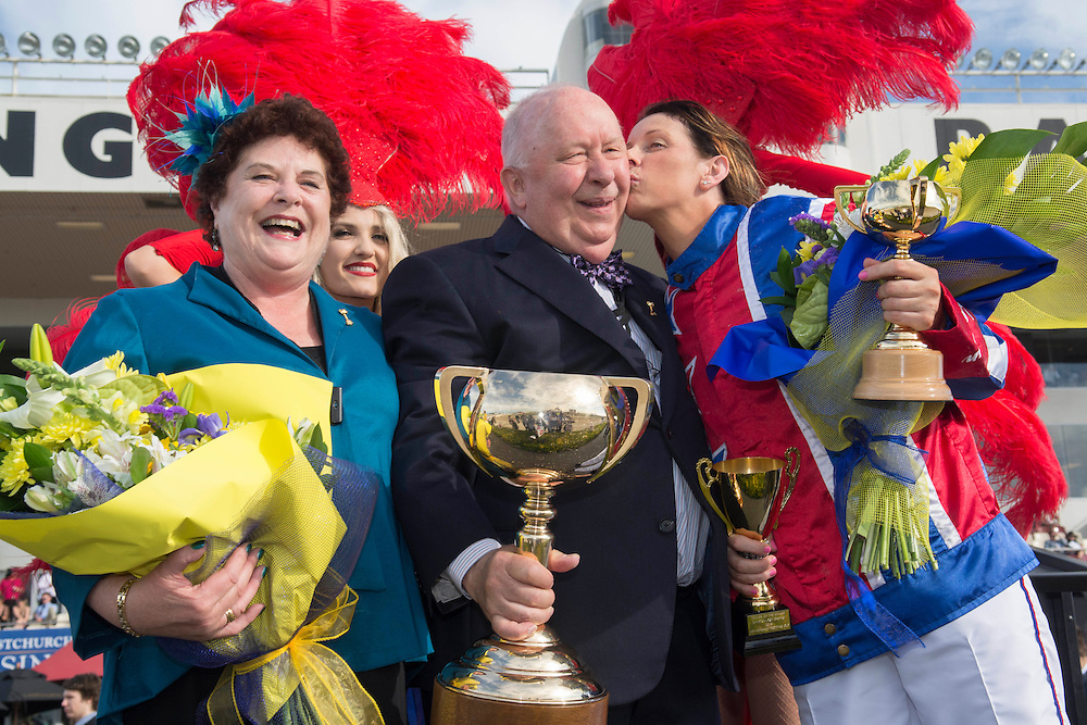 Owners Meg and Merv Butterworth with their winning driver Kerryn Manning who drove Ardern Rooney to win the New Zealand Trotting Cup at the New Zealand Trotting Cup Day, Addington Raceway, Christchurch, New Zealand, Tuesday, 10 November, 2015.<br /> Credit:SNPA / David Alexander