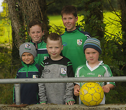 Kyle Naughton, Jack Walsh, Kian Hughes, Thomas and Padraig Mylotte from The Neale watchin on at the local derby versus Ballinrobe.<br /> Pic Conor McKeown
