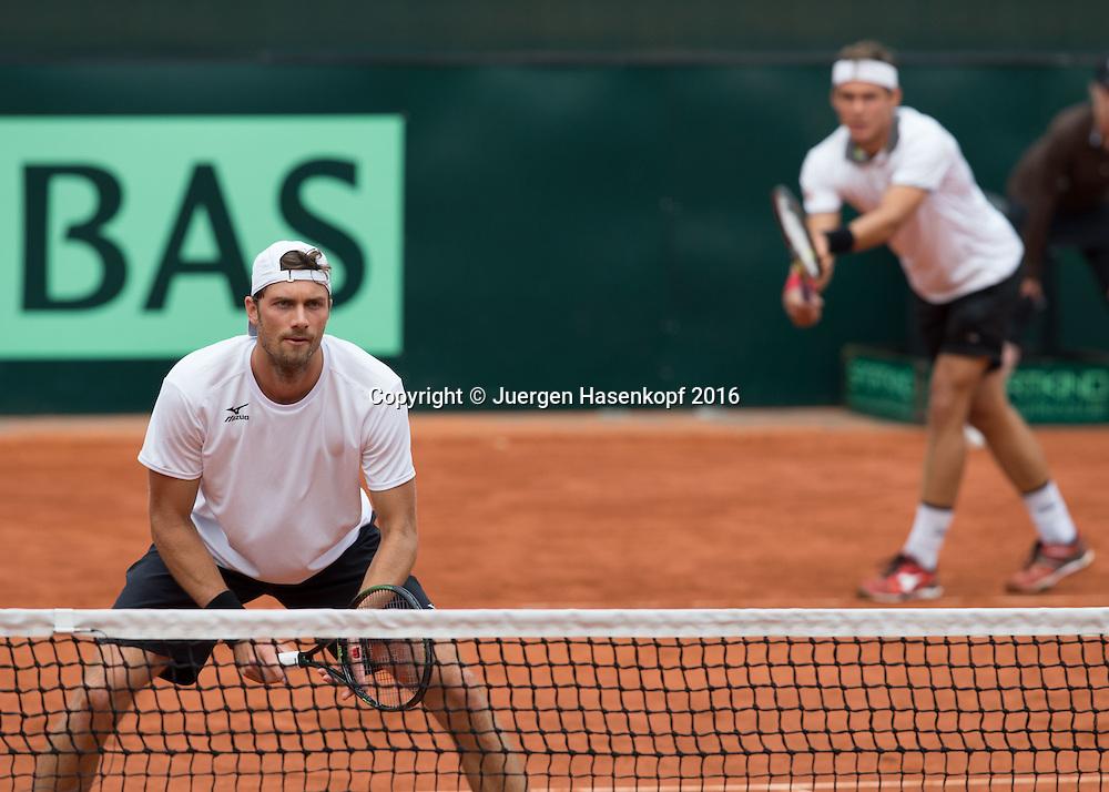 DANIEL BRANDS / DANIEL MASUR -Davis Cup Doppel<br /> <br /> Tennis - Davis Cup GER-POL 2016 - ITF Davis Cup -  Steffi Graf Stadion - Berlin - Berlin - Germany - 17 September 2016. <br /> &copy; Juergen Hasenkopf-Molter