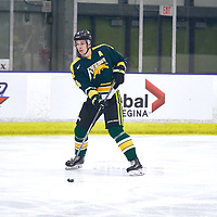 3rd year defence man, Isaac Schacher (4) of the Regina Cougars during the Men's Hockey Home Game on Sat Jan 26 at Co-operators Center. Credit: Arthur Ward/Arthur Images