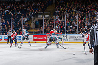 KELOWNA, CANADA - JANUARY 17: Gordie Ballhorn #4 of the Kelowna Rockets tries to block a pass against the Lethbridge Hurricanes on January 17, 2018 at Prospera Place in Kelowna, British Columbia, Canada.  (Photo by Marissa Baecker/Shoot the Breeze)  *** Local Caption ***