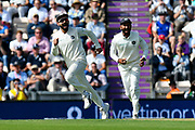 Wicket - Virat Kohli (captain) of India celebrates the wicket of Keaton Jennings of England bowled by Jasprit Bumrah of India during the first day of the 4th SpecSavers International Test Match 2018 match between England and India at the Ageas Bowl, Southampton, United Kingdom on 30 August 2018.