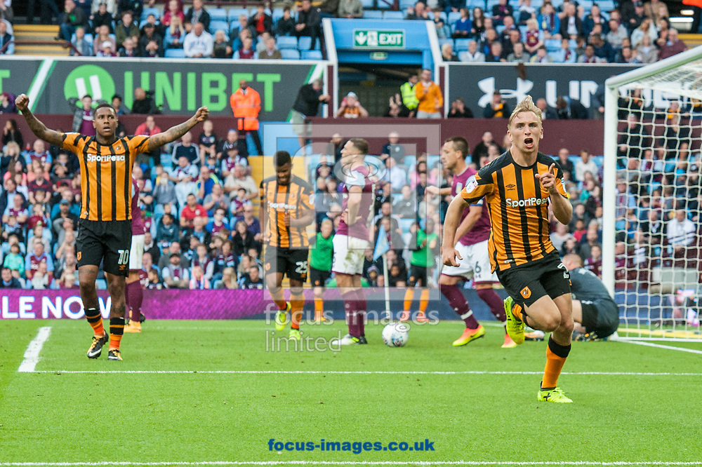 Jarrod Bowen of Hull City (right) celebrates after scoring his sides first goal during the Sky Bet Championship match at Villa Park, Birmingham<br /> Picture by Matt Wilkinson/Focus Images Ltd 07814 960751<br /> 05/08/2017