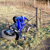 Photograph showing the remains of a motorbike ater crashing on the A9 near Blackford on Saturday 19.03.05.<br />John MacGillivary (49) from Auchterarder, died in Ninewells Hospital, Wednesday 23.03.05.<br />Picture by Graeme Hart.<br />Copyright Perthshire Picture Agency<br />Tel: 01738 623350  Mobile: 07990 594431