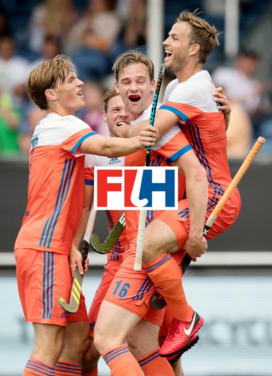 BREDA - Rabobank Hockey Champions Trophy<br /> The Netherlands - Belgium<br /> Photo: Mirco Pruyser, Jeroen Hertzberger, Roel Bovendeert and Jorrit Croon celebrate.<br /> COPYRIGHT WORLDSPORTPICS FRANK UIJLENBROEK