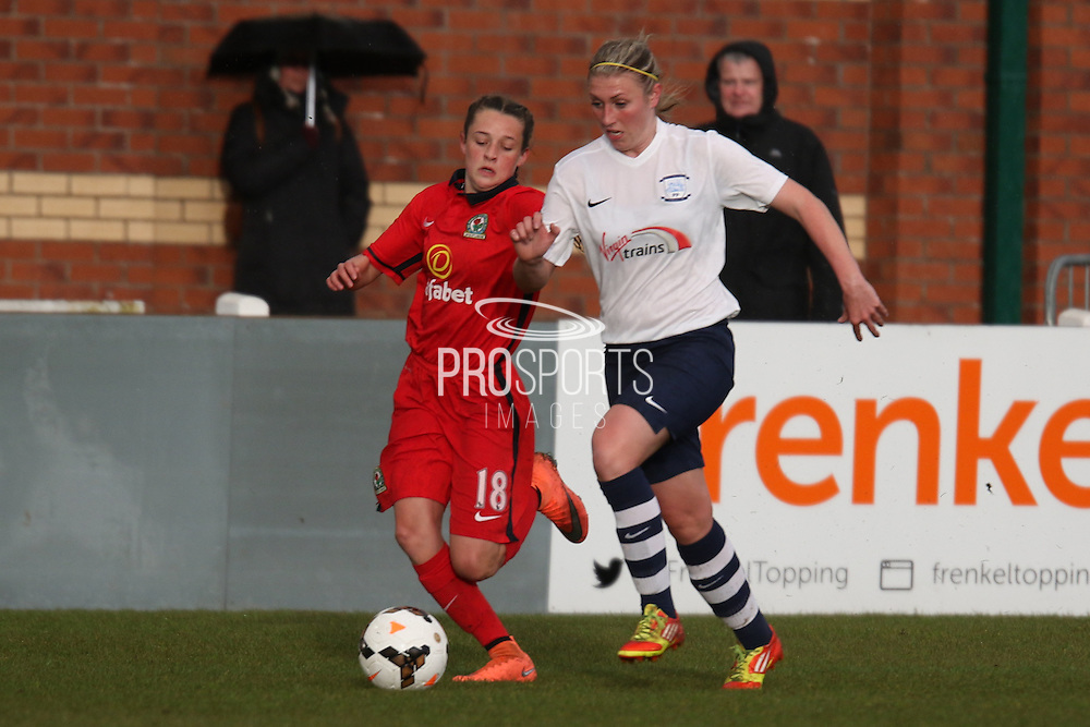 Preston Striker Jasmine Swarbrick drives forward during the FA Women's Lancashire Cup Final match between Preston North End Ladies and Blackburn Rovers Women at the County Ground, Leyland, United Kingdom on 28 April 2016. Photo by Pete Burns.