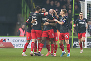 Exeter City's Nigel Atangana(4) scores a goal 0-1 and celebrates during the EFL Sky Bet League 2 match between Forest Green Rovers and Exeter City at the New Lawn, Forest Green, United Kingdom on 1 January 2020.