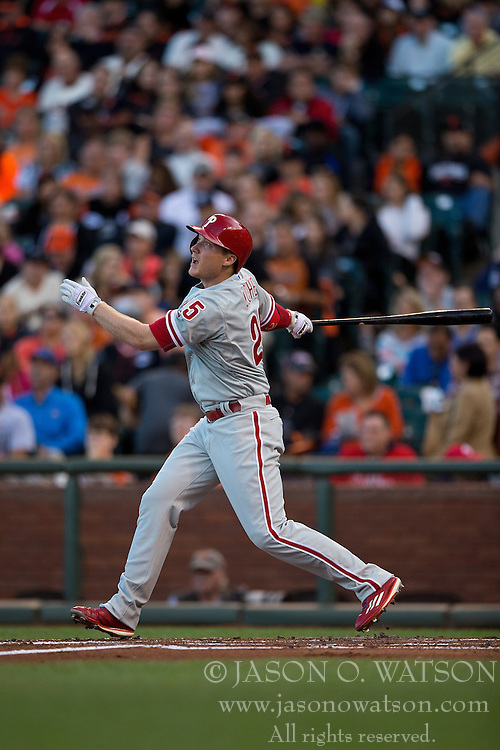SAN FRANCISCO, CA - JULY 11:  Cody Asche #25 of the Philadelphia Phillies at bat against the San Francisco Giants during the second inning at AT&T Park on July 11, 2015 in San Francisco, California.  The San Francisco Giants defeated the Philadelphia Phillies 8-5. (Photo by Jason O. Watson/Getty Images) *** Local Caption *** Cody Asche