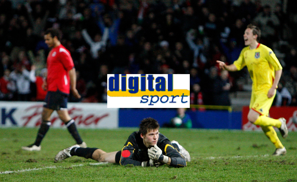 Photo: Richard Lane/Richard Lane Photography. <br />Wales v Norway. Nationwide International. 06/02/2008. <br />Norway's Rune Almenning Jarstein watches the ball go into the back of the net.