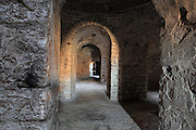 Inside the entrance room of Kalaja e Porto Palermos (Porto Palermo Castle or Panormos Castle), in the Porto Palermo Bay near Himare in the Albanian Riviera in Southern Albania. The castle was built in triangular plan by the Venetians and was ruled by Ali Pasha before he bequested it to the Royal Navy in 1803. Picture by Manuel Cohen