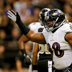 Nov 24, 2014; New Orleans, LA, USA; Baltimore Ravens nose tackle Brandon Williams (98) reacts after a New Orleans Saints turnover during the first quarter of a game at the Mercedes-Benz Superdome. Mandatory Credit: Derick E. Hingle-USA TODAY Sports