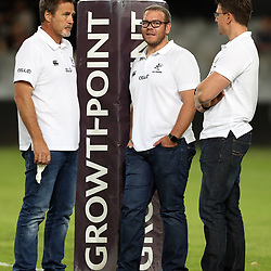DURBAN, SOUTH AFRICA - APRIL 22: Robert du Preez (Head Coach) of the Cell C Sharks with Jaco Pienaar (Assistant Coach) of the Cell C Sharks and Pieter Kruger during the Super Rugby match between Cell C Sharks and Rebels at Growthpoint Kings Park on April 22, 2017 in Durban, South Africa. (Photo by Steve Haag/Gallo Images)