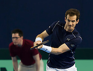 Andy Murray pictured in action during the round three singles match on second day of the Davis Cup by BNP Paribas match between Great Britain and Japan at the National Indoor Arena, Birmingham, England.<br /> Picture by Anthony Stanley/Focus Images Ltd 07833 396363<br /> 05/03/2016