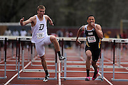 AMHERST, MA - MAY 3: Kyle Trinch of Duquesne University, left, and Kyle Martin of Virginia Commonwealth University, right, race during the men's 110-meter high hurdles during Day 1 of the Atlantic 10 Outdoor Track and Field Championships at the University of Massachusetts Amherst Track and Field Complex on May 3, 2014 in Amherst, Massachusetts. (Photo by Daniel Petty/Atlantic 10)