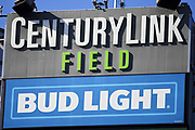 Bud Light beer advertisement at CenturyLink Field during a MLS soccer match between the LA Galaxy and the Seattle Sounders on Saturday, September 1, 2019, in Seattle, Washington. (Alika Jenner/Image of Sport via AP)
