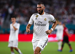 July 31, 2018 - Miami Gardens, Florida, USA - Real Madrid C.F. forward Karim Mostafa Benzema (9) in action during an International Champions Cup match between Real Madrid C.F. and Manchester United F.C. at the Hard Rock Stadium in Miami Gardens, Florida. Manchester United F.C. won the game 2-1. (Credit Image: © Mario Houben via ZUMA Wire)