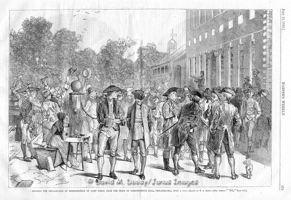 vintage illustration:  Harper's Weekly 1876 Reading the Declaration of Indepenence, on the the steps of Independence Hall by John Nixon,  Philadelphia, PA July 8. 1776
