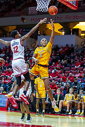 NORMAL, IL - February 15: Donovan Clay put up a layup while defended by Antonio Reeves during a college basketball game between the ISU Redbirds and the Valparaiso Crusaders on February 15 2020 at Redbird Arena in Normal, IL. (Photo by Alan Look)