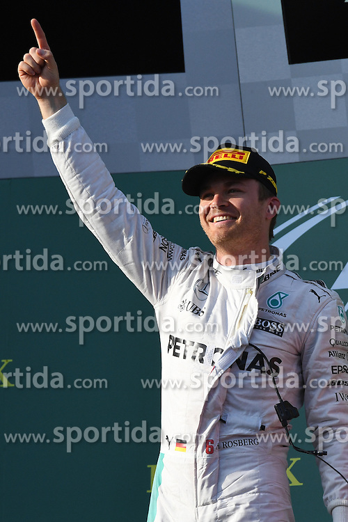 20.03.2016, Albert Park Circuit, Melbourne, AUS, FIA, Formel 1, Grand Prix von Australien, Rennen, im Bild Race winner Nico Rosberg (GER) Mercedes AMG F1 celebrates on the podium // during Race for the FIA Formula One Grand Prix of Australia at the Albert Park Circuit in Melbourne, Australia on 2016/03/20. EXPA Pictures &copy; 2016, PhotoCredit: EXPA/ Sutton Images/ Images<br /> <br /> *****ATTENTION - for AUT, SLO, CRO, SRB, BIH, MAZ only*****