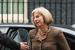 London, September 1st 2014.  Home Sectretary Theresa May arrives at Downing street as ministers meet prior to David Cameron's address to Parliament on the raised level of threat from Islamist  terrorism. PAYMENT/CONTACT DETAILS: paul@pauldaveycreative.co.uk Te' +44 (0) 7966 016 296 or +44 (0) 208 969 6875