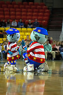 05 May 2006: Trotter mascot Globie trains a little mascot during the Harlem Globetrotters game vs the New York Nationals at the Sulivan Arena in Anchorage Alaska during their 80th Anniversary World Tour.