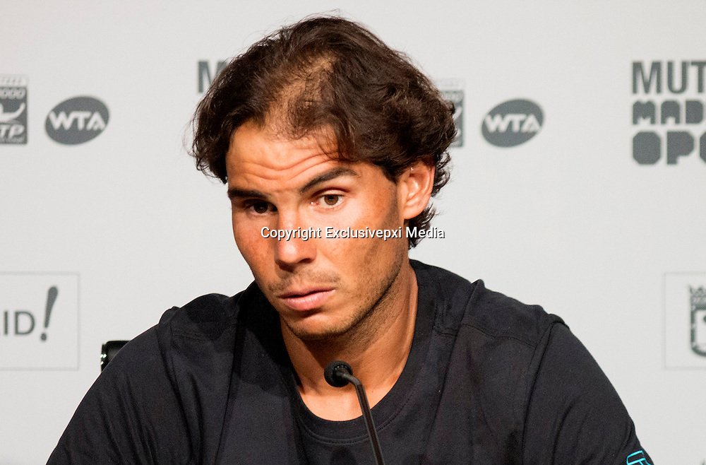 MADRID, SPAIN, 2016, MAY, <br /> <br /> Is Rafael Nadal going bald<br /> <br /> Rafael Nadal, one of the best players in the world, is beginning to suffer from alopecia, probably by washing hair in excess suffered by athletes to have some training as continued<br /> &copy;Exclusivepxi Media