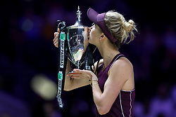 October 28, 2018 - Singapore - Elina Svitolina of the Ukraine holds the Billie Jean King Trophy after winning the Singles Championship match against Sloane Stephens of the United States on day 8 of the WTA Finals at the Singapore Indoor Stadium. (Credit Image: © Paul Miller/ZUMA Wire)
