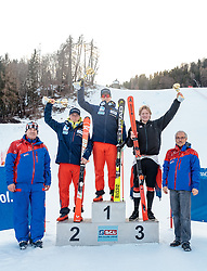 10.01.2018, Hochstein Ski Stadion, Lienz, AUT, FIS Ski Alpin, Serie Tirol, Riesen Slalom, Herren, Siegerehrung, im Bild v.l. Engelbert Nussbaumer (SC Lienz), Fabian Wilkens Solheim (NOR, 2. Platz), Patrick Haugen Veisten (NOR, 1. Platz), Simen Ramberg Christensen (NOR, 3. Platz), Werner Frömel (Ski Club Lienz) // f.l. Engelbert Nussbaumer (SC Lienz) second placed Fabian Wilkens Solheim of Norway, race winner Patrick Haugen Veisten of Norway, third placed Simen Ramberg Christensen of Norway, Werner Frömel (Ski Club Lienz) during the award ceremony for the men's giant slalom of FIS Ski Alpin Serie Tyrol at the Ski Stadium Hochstein in Lienz, Austria on 2018/01/10. EXPA Pictures © 2018, PhotoCredit: EXPA/ Johann Groder