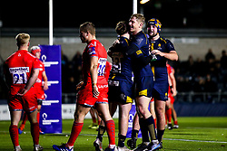 Oli Morris of Worcester Cavaliers celebrates with teammates after scoring a try - Mandatory by-line: Robbie Stephenson/JMP - 25/11/2019 - RUGBY - Sixways Stadium - Worcester, England - Worcester Cavaliers v Sale Jets - Premiership Rugby Shield