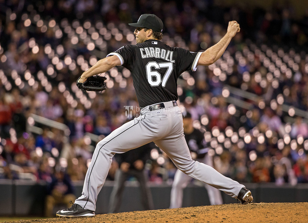 MINNEAPOLIS, MN- APRIL 30: Scott Carroll #67 of the Chicago White Sox pitches against the Minnesota Twins on April 30, 2015 at Target Field in Minneapolis, Minnesota. The Twins defeated the White Sox 12-2. (Photo by Brace Hemmelgarn) *** Local Caption *** Scott Carroll