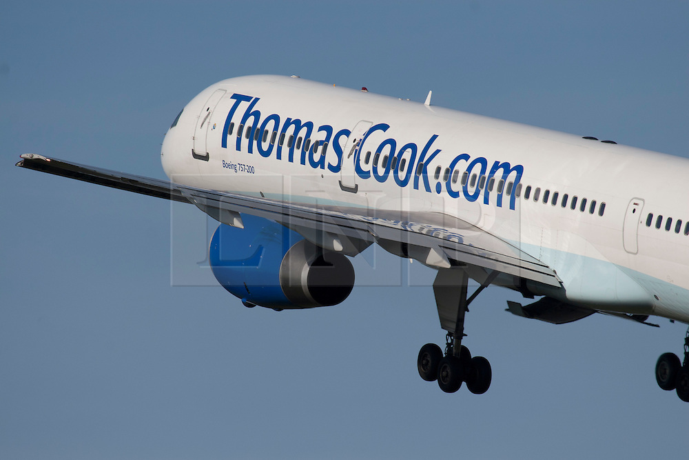 © Licensed to London News Pictures. FILE PHOTO: Thomas Cook Aircraft -  Travel firm Thomas Cook has reached agreement with its bankers to provide it with a new £200m facility until 30 April 2013. Shares in the company fell 75% on Tuesday after it said it was in talks about increasing borrowings. Photo credit : Ian Schofield/LNP