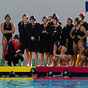 11 February 2018: The San Diego State  women's water polo team competes in day two of the Triton Invitation on the campus of UCSD. San Diego State Aztecs head coach Carin Crawford talks with her team at halftime against CSUN. The Aztecs took on the #23 CSUN Matadors Sunday morning and came away with a 8-5 win.<br /> More game action at www.sdsuaztecphotos.com