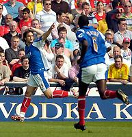 Photo: Ed Godden.<br /> Portsmouth v Liverpool. The Barclays Premiership. 28/04/2007. Niko Kranjcar (L) celebrates scoring the second goal for Portsmouth.